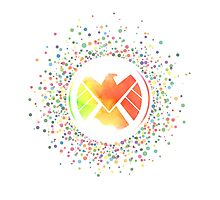 Rainbow Watercolor SHIELD Logo Photographic Print