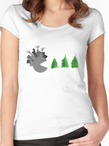 Pac Man Trees Women's Fitted Scoop T-Shirt