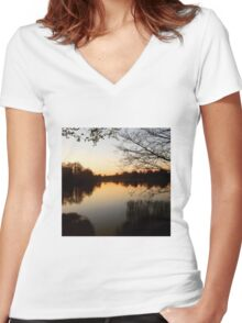 Lake Reflection Women's Fitted V-Neck T-Shirt