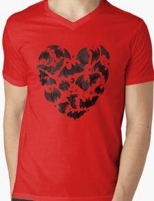 Bat Heart Mens V-Neck T-Shirt