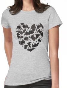 Bat Heart Womens Fitted T-Shirt