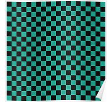 Minimalist check pattern. checkered square, Green and black. Checkered pattern.  Poster