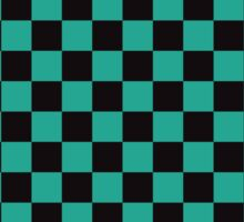 Minimalist check pattern. checkered square, Green and black. Checkered pattern.  Sticker
