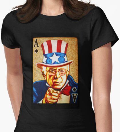 BERNIE SANDERS POCKET ACE POTUS T-SHIRT Womens Fitted T-Shirt