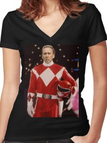 Nick Cage Red Ranger Women's Fitted V-Neck T-Shirt