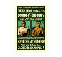 British rugby, football players call for duty Art Print