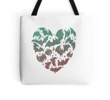 Bat Heart; blue/pink ombre Tote Bag