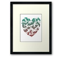 Bat Heart; blue/pink ombre Framed Print
