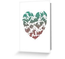 Bat Heart; blue/pink ombre Greeting Card