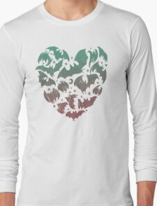 Bat Heart; blue/pink ombre Long Sleeve T-Shirt
