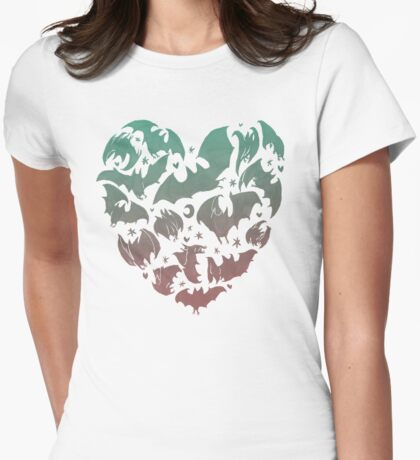 Bat Heart; blue/pink ombre Womens Fitted T-Shirt