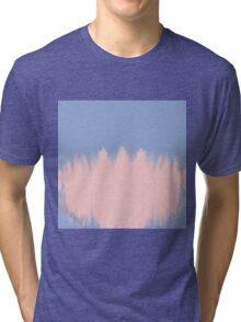Rose Quartz Brushstrokes on Serenity Blue Tri-blend T-Shirt