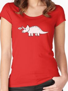 Cartoon Triceratops Women's Fitted Scoop T-Shirt