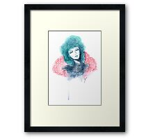 Inspired by the Rockabilly 50s - Turquoise Haired Girl  Framed Print