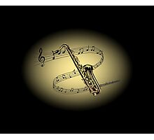 Saxophone ~ Scrolling Scale ~ Cream & Black Background  Photographic Print