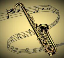 Saxophone ~ Scrolling Scale ~ Cream & Black Background  Sticker