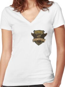 Owl Postal Service Women's Fitted V-Neck T-Shirt