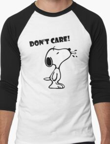 "Snoopy ""Don't Care!"" Men's Baseball ¾ T-Shirt"