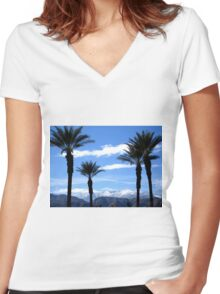 PALM TREES AND THE SNOWY MOUNTAINS Women's Fitted V-Neck T-Shirt