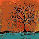 Fall tree with branches on lake by Casey Virata