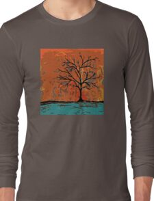 Fall tree with branches on lake Long Sleeve T-Shirt