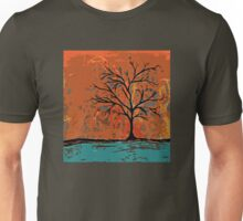 Fall tree with branches on lake Unisex T-Shirt