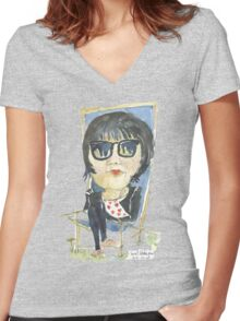 Girl in the city park Women's Fitted V-Neck T-Shirt