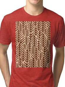 Seamless black and white leaf pattern Tri-blend T-Shirt