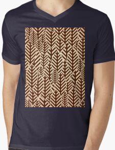Seamless black and white leaf pattern Mens V-Neck T-Shirt