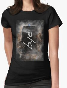 Bye...British Phone Box in Space Womens Fitted T-Shirt