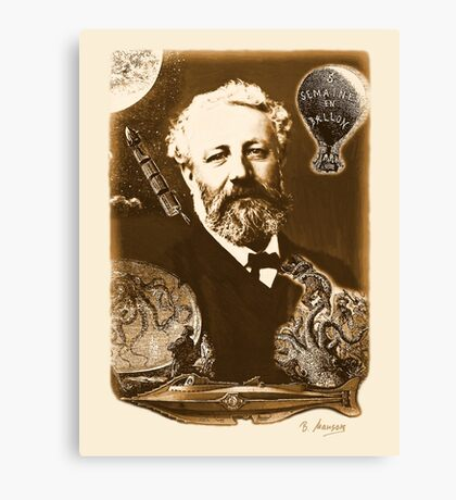 Jules Verne Tribute (natural creme white) Canvas Print