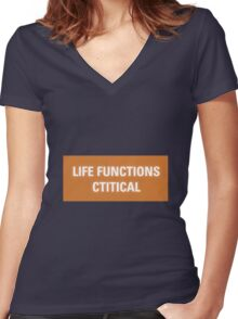 2001 A Space Odyssey - HAL 9000 Life Functions Critical Error Women's Fitted V-Neck T-Shirt