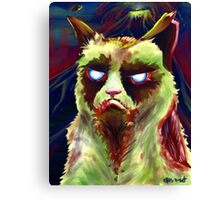 Grumpy Zombie Cat Canvas Print