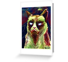 Grumpy Zombie Cat Greeting Card