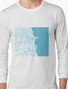 Chicago Map - Baby Blue Inverted Long Sleeve T-Shirt