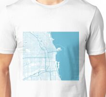 Chicago Map - Baby Blue Inverted Unisex T-Shirt