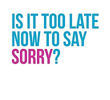 Is it too late now to say sorry ? - Justin Bieber Sorry inspired t-shirt design. Is it too late to say sorry now? Photographic Print