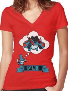 Mudkip Dream Big Women's Fitted V-Neck T-Shirt