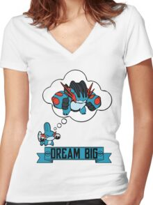 Mudkip Dream Big Women's Fitted V-Neck T-Shirt