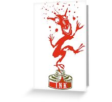 Red Ink Bottle Imp Greeting Card