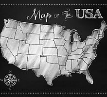 Map of the USA Chalkboard art US Map by Glimmersmith
