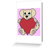 Valentine's Day Tan Dog with Red Heart Greeting Card