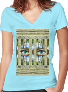 Surrealist Temple of Love Petit Trianon Versailles Paris Women's Fitted V-Neck T-Shirt