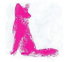 Fuchsia Finger Painted Arctic Fox Photographic Print
