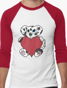 Valentine's Day Dalmatian Puppy with Red Heart Men's Baseball ¾ T-Shirt