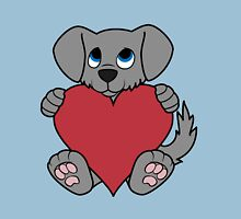 Valentine's Day Gray Dog with Red Heart Unisex T-Shirt