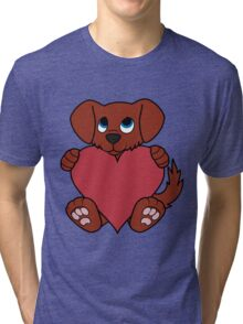 Valentine's Day Red Dog with Red Heart Tri-blend T-Shirt