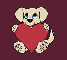 Valentine's Day Tan Dog with Red Heart Unisex T-Shirt