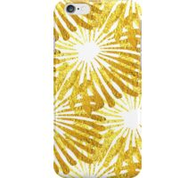 White background gold Daisies pattern iPhone Case/Skin