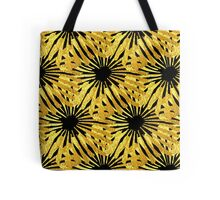 Black background gold Daisies pattern Tote Bag